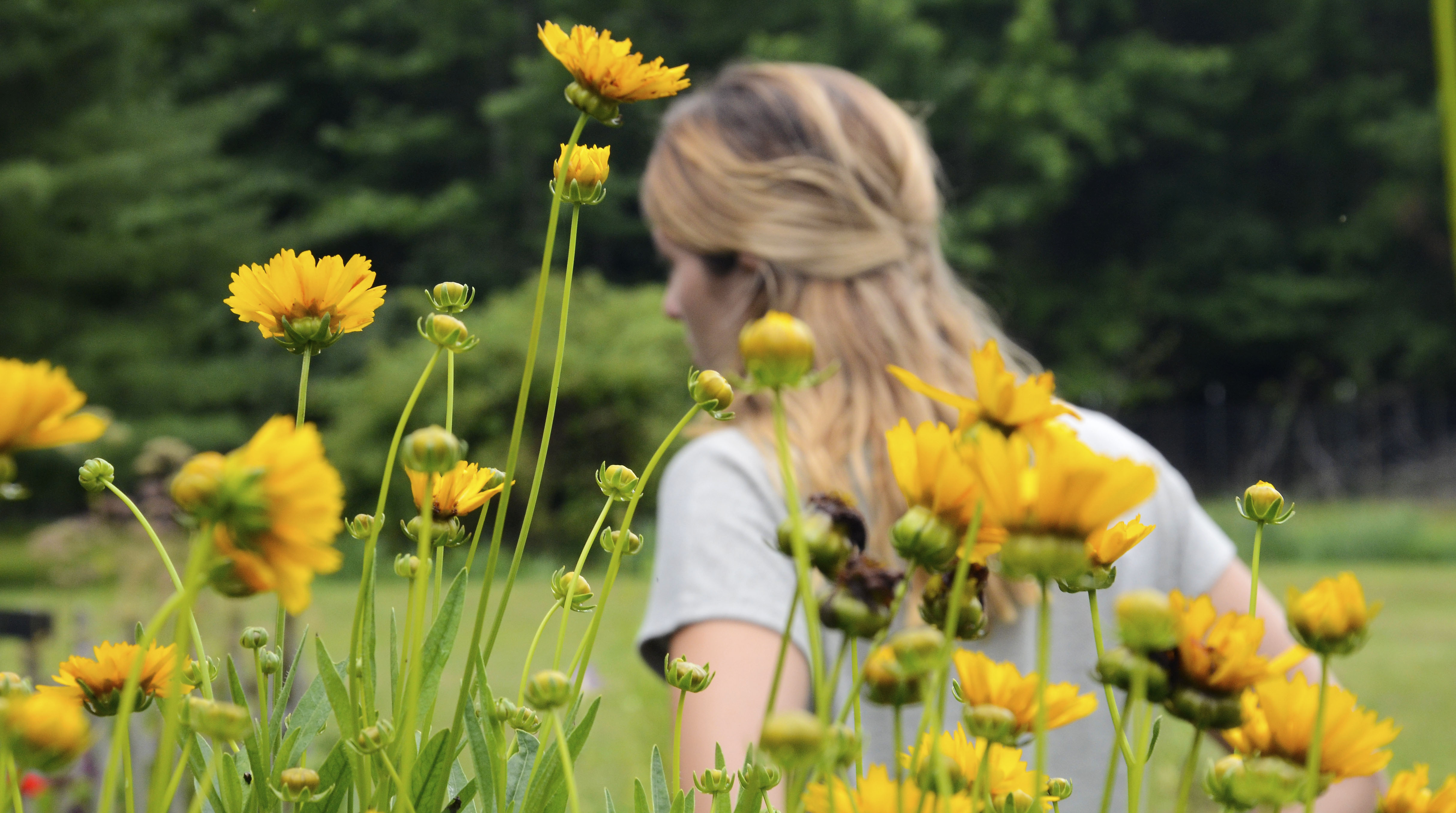 girl walking with flowers in foreground