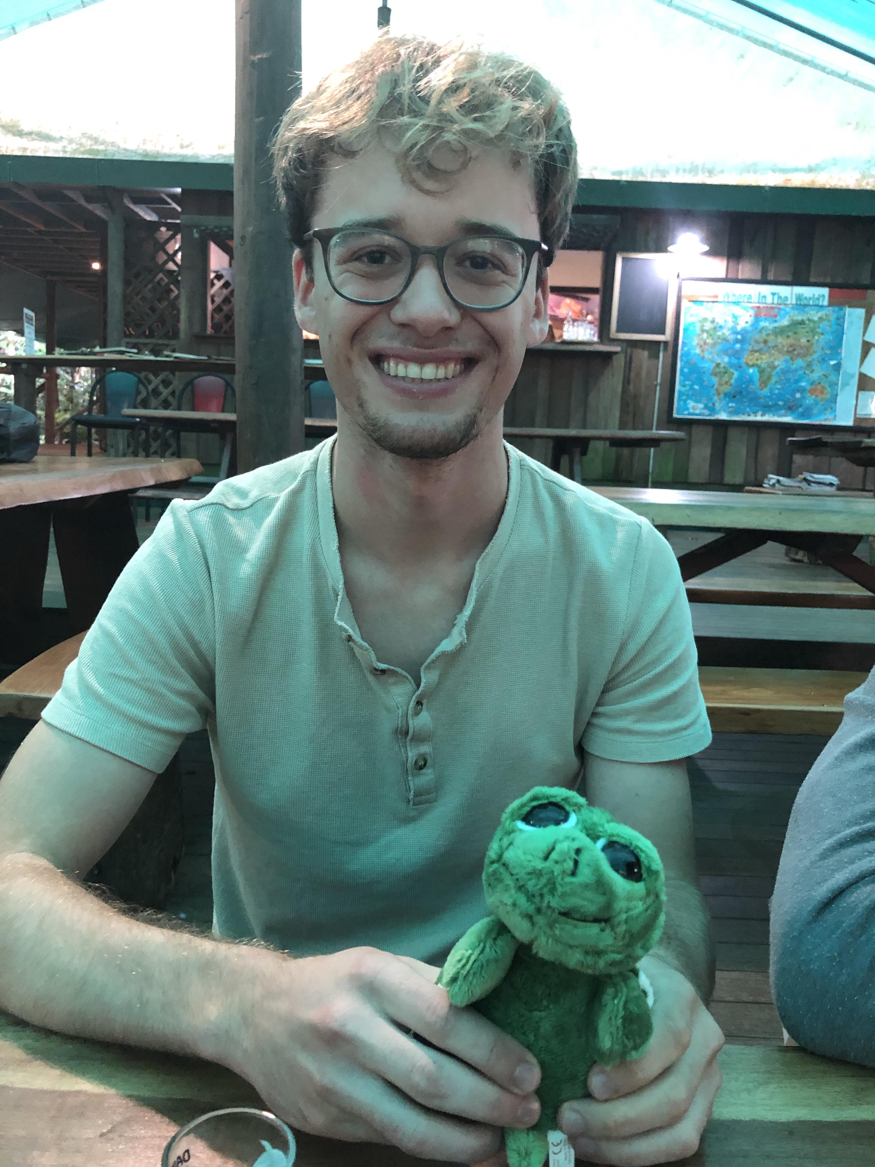 Luke holding a stuffed animal