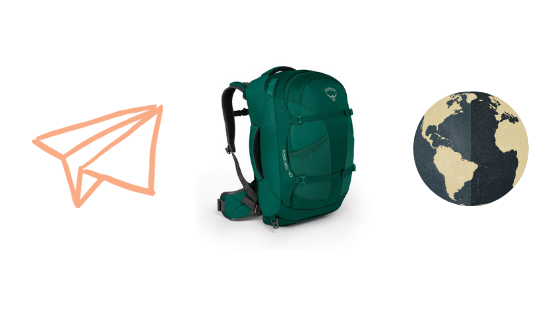 banner with a plane, globe, and backpack on it
