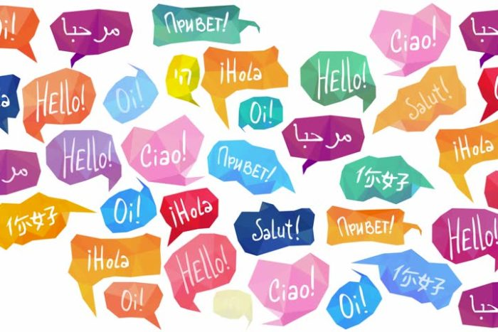 different speech bubbles of how to say hello in different languages